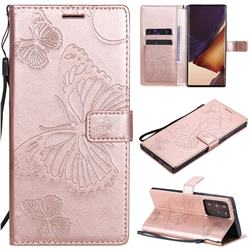 Embossing 3D Butterfly Leather Wallet Case for Samsung Galaxy Note 20 Ultra - Rose Gold