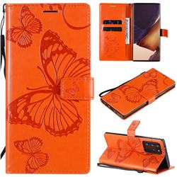 Embossing 3D Butterfly Leather Wallet Case for Samsung Galaxy Note 20 Ultra - Orange