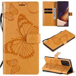 Embossing 3D Butterfly Leather Wallet Case for Samsung Galaxy Note 20 Ultra - Yellow