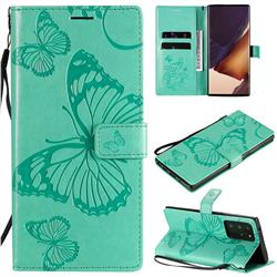 Embossing 3D Butterfly Leather Wallet Case for Samsung Galaxy Note 20 Ultra - Green