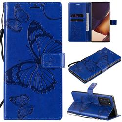 Embossing 3D Butterfly Leather Wallet Case for Samsung Galaxy Note 20 Ultra - Blue