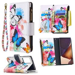 Vivid Flying Butterflies Binfen Color BF03 Retro Zipper Leather Wallet Phone Case for Samsung Galaxy Note 20 Ultra