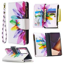 Seven-color Flowers Binfen Color BF03 Retro Zipper Leather Wallet Phone Case for Samsung Galaxy Note 20 Ultra