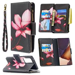 Lotus Flower Binfen Color BF03 Retro Zipper Leather Wallet Phone Case for Samsung Galaxy Note 20 Ultra