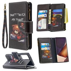 Chainsaw Bear Binfen Color BF03 Retro Zipper Leather Wallet Phone Case for Samsung Galaxy Note 20 Ultra