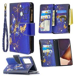Purple Butterfly Binfen Color BF03 Retro Zipper Leather Wallet Phone Case for Samsung Galaxy Note 20 Ultra