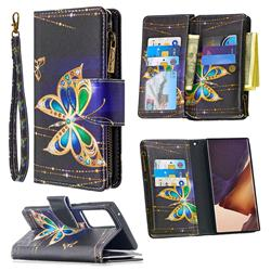 Golden Shining Butterfly Binfen Color BF03 Retro Zipper Leather Wallet Phone Case for Samsung Galaxy Note 20 Ultra