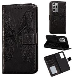 Intricate Embossing Vivid Butterfly Leather Wallet Case for Samsung Galaxy Note 20 Ultra - Black