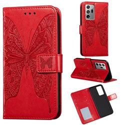 Intricate Embossing Vivid Butterfly Leather Wallet Case for Samsung Galaxy Note 20 Ultra - Red