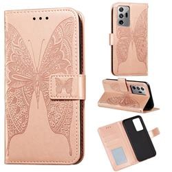 Intricate Embossing Vivid Butterfly Leather Wallet Case for Samsung Galaxy Note 20 Ultra - Rose Gold