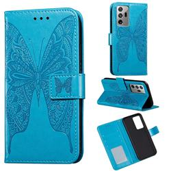 Intricate Embossing Vivid Butterfly Leather Wallet Case for Samsung Galaxy Note 20 Ultra - Blue