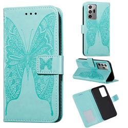 Intricate Embossing Vivid Butterfly Leather Wallet Case for Samsung Galaxy Note 20 Ultra - Green