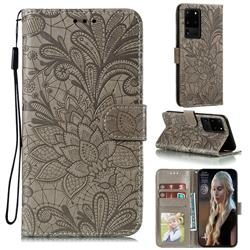 Intricate Embossing Lace Jasmine Flower Leather Wallet Case for Samsung Galaxy Note 20 Ultra - Gray