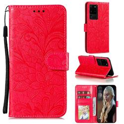 Intricate Embossing Lace Jasmine Flower Leather Wallet Case for Samsung Galaxy Note 20 Ultra - Red