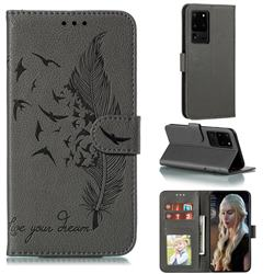 Intricate Embossing Lychee Feather Bird Leather Wallet Case for Samsung Galaxy Note 20 Ultra - Gray