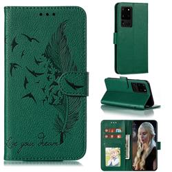 Intricate Embossing Lychee Feather Bird Leather Wallet Case for Samsung Galaxy Note 20 Ultra - Green
