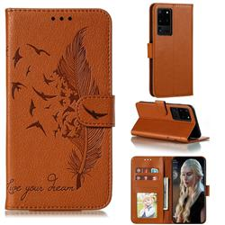 Intricate Embossing Lychee Feather Bird Leather Wallet Case for Samsung Galaxy Note 20 Ultra - Brown