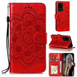 Intricate Embossing Datura Solar Leather Wallet Case for Samsung Galaxy Note 20 Ultra - Red