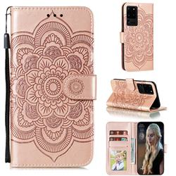 Intricate Embossing Datura Solar Leather Wallet Case for Samsung Galaxy Note 20 Ultra - Rose Gold