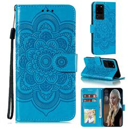 Intricate Embossing Datura Solar Leather Wallet Case for Samsung Galaxy Note 20 Ultra - Blue