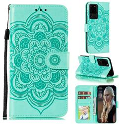 Intricate Embossing Datura Solar Leather Wallet Case for Samsung Galaxy Note 20 Ultra - Green