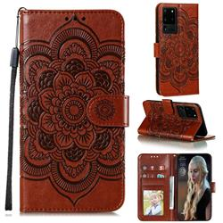 Intricate Embossing Datura Solar Leather Wallet Case for Samsung Galaxy Note 20 Ultra - Brown