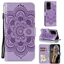 Intricate Embossing Datura Solar Leather Wallet Case for Samsung Galaxy Note 20 Ultra - Purple