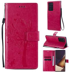 Embossing Butterfly Tree Leather Wallet Case for Samsung Galaxy Note 20 Ultra - Rose