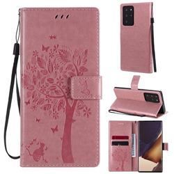 Embossing Butterfly Tree Leather Wallet Case for Samsung Galaxy Note 20 Ultra - Pink
