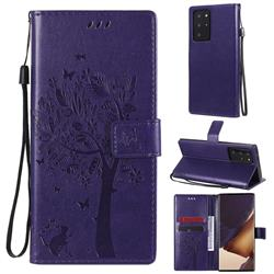 Embossing Butterfly Tree Leather Wallet Case for Samsung Galaxy Note 20 Ultra - Purple