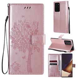 Embossing Butterfly Tree Leather Wallet Case for Samsung Galaxy Note 20 Ultra - Rose Pink
