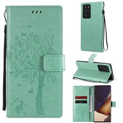 Embossing Butterfly Tree Leather Wallet Case for Samsung Galaxy Note 20 Ultra - Cyan