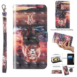 Fantasy Lion 3D Painted Leather Wallet Case for Samsung Galaxy Note 20 Ultra