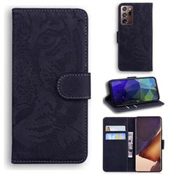 Intricate Embossing Tiger Face Leather Wallet Case for Samsung Galaxy Note 20 Ultra - Black