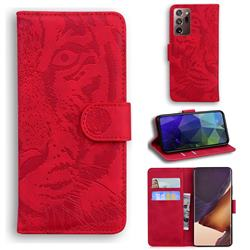 Intricate Embossing Tiger Face Leather Wallet Case for Samsung Galaxy Note 20 Ultra - Red