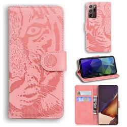Intricate Embossing Tiger Face Leather Wallet Case for Samsung Galaxy Note 20 Ultra - Pink