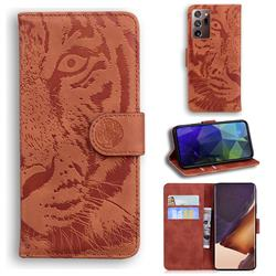 Intricate Embossing Tiger Face Leather Wallet Case for Samsung Galaxy Note 20 Ultra - Brown