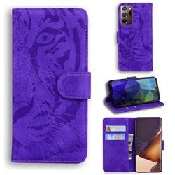 Intricate Embossing Tiger Face Leather Wallet Case for Samsung Galaxy Note 20 Ultra - Purple