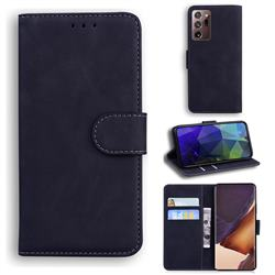 Retro Classic Skin Feel Leather Wallet Phone Case for Samsung Galaxy Note 20 Ultra - Black