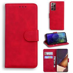 Retro Classic Skin Feel Leather Wallet Phone Case for Samsung Galaxy Note 20 Ultra - Red