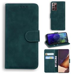 Retro Classic Skin Feel Leather Wallet Phone Case for Samsung Galaxy Note 20 Ultra - Green