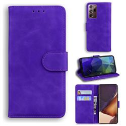 Retro Classic Skin Feel Leather Wallet Phone Case for Samsung Galaxy Note 20 Ultra - Purple