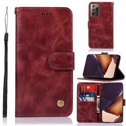 Luxury Retro Leather Wallet Case for Samsung Galaxy Note 20 Ultra - Wine Red