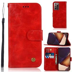 Luxury Retro Leather Wallet Case for Samsung Galaxy Note 20 Ultra - Red