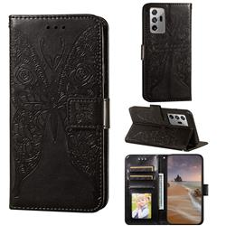 Intricate Embossing Rose Flower Butterfly Leather Wallet Case for Samsung Galaxy Note 20 Ultra - Black