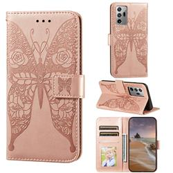 Intricate Embossing Rose Flower Butterfly Leather Wallet Case for Samsung Galaxy Note 20 Ultra - Rose Gold