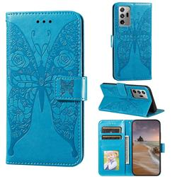 Intricate Embossing Rose Flower Butterfly Leather Wallet Case for Samsung Galaxy Note 20 Ultra - Blue