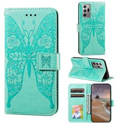 Intricate Embossing Rose Flower Butterfly Leather Wallet Case for Samsung Galaxy Note 20 Ultra - Green