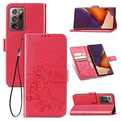 Embossing Imprint Four-Leaf Clover Leather Wallet Case for Samsung Galaxy Note 20 Ultra - Rose Red