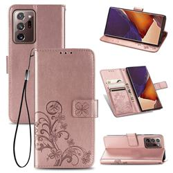 Embossing Imprint Four-Leaf Clover Leather Wallet Case for Samsung Galaxy Note 20 Ultra - Rose Gold